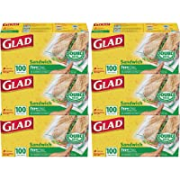 6-Pack Glad Food Storage Bags Sandwich Zipper 100 Count