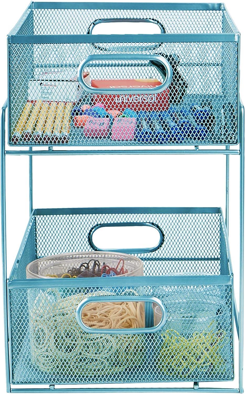 Bathroom Office Mind Reader HCABASK2T-BLK Cabinet Home Kitchen Black 2 Tier Heavy Duty Mesh Storage Baskets Organizer One Size