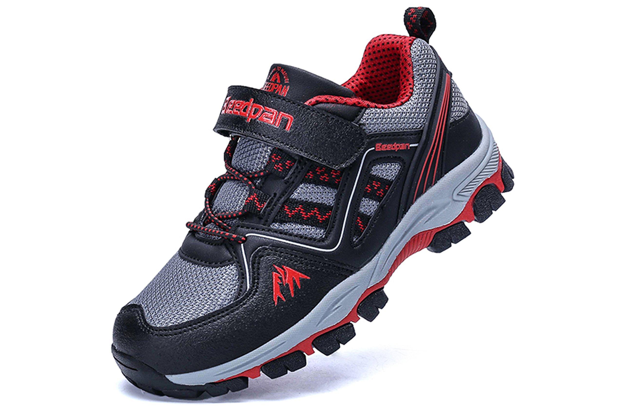 Jabasic Kids Hiking Shoes Outdoor Adventure Athletic Sneakers(2, Black)