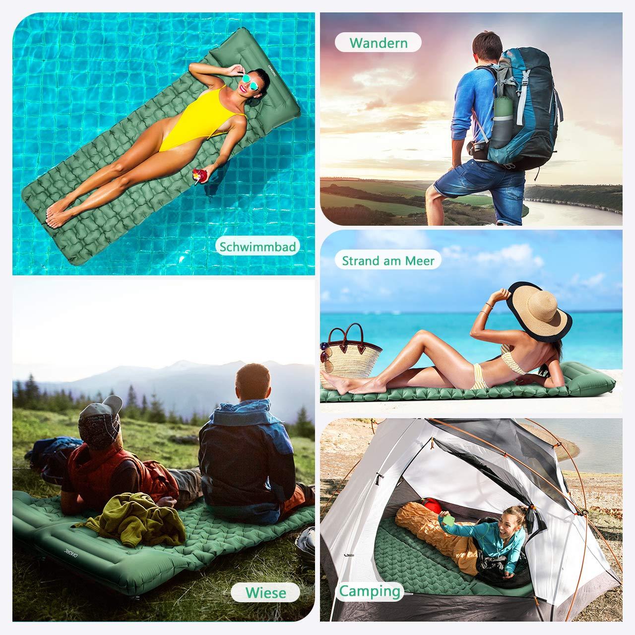 Tragbare Ultraleichte Haltbare Luftmatte/f/ür Camping Reise Outdoor Wandern Strand 199 * 70 * 12cm OMORC Aufblasbare Outdoor Luftmatratze Camping Isomatte mit Kissen