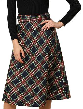 Allegra K Falda de Cuadros Escoceses de Cintura Alta con cinturón ...
