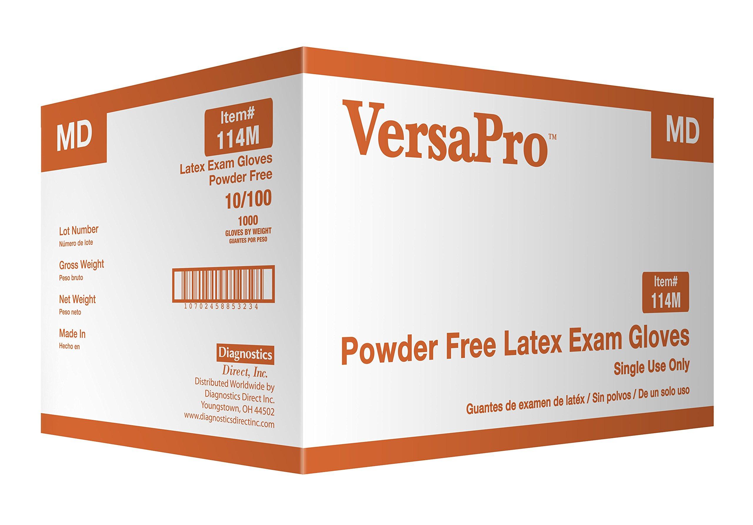 Diagnostics Direct 114CM Latex Exam Gloves Powder Free, Medium (Pack of 1000) by Diagnostics Direct, Inc.
