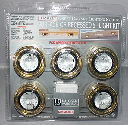 Beau Under Cabinet Lighting System Recessed 5 Light Kit Brass