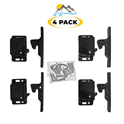 Camp'N - 4 Pack - Push Catch - Latch - Grabber - Holder for RV Cabinet Doors with Mounting Hardware - 5 lbs Pull Force - Perfect for RV, Trailer, Camper, Motor Home, Cargo Trailer - OEM Replacement: Home Improvement
