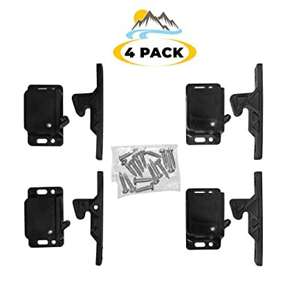 Camp'N -4 Pair- Push Catch - Latch - Grabber - Holder for RV Cabinet Doors  with Mounting Hardware - 5 lbs Pull Force - Perfect for RV, Trailer,