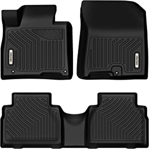 OEDRO Floor Mats Compatible with 2019-2020 Hyundai Santa Fe 5 Passenger Models, Custom Fit Front & 2nd Seat 2 Row Liner Set - Black TPE All-Weather Guard