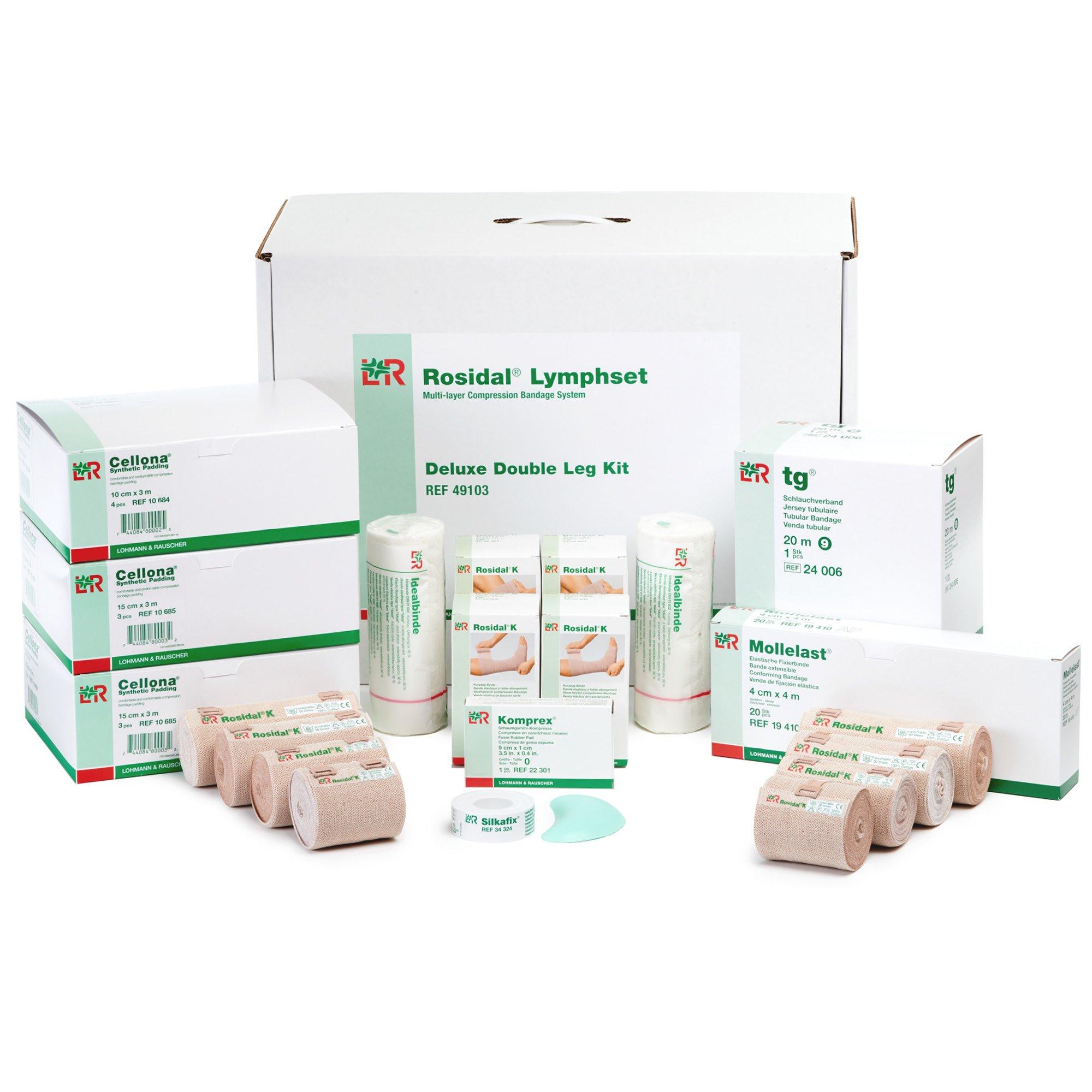Rosidal Lymphset Compression Bandaging Kit for Legs, Multi-Layer Compression Bandages Set, Includes Short Stretch Wrap, Synthetic Padding, Tubular Bandage, Adhesive Tape, Instructions, Double Leg