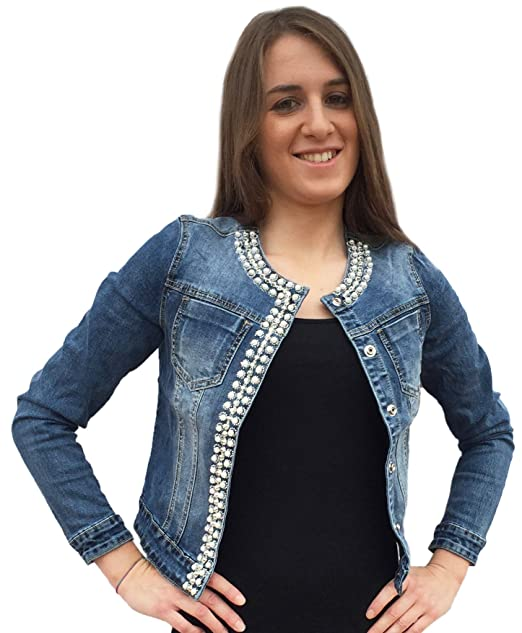 newest collection 4c431 5765b Miss Bonbon Principe - Giubbino Jeans Donna, Strass, Perle, Brillantini,  Sexy, Nuova G693
