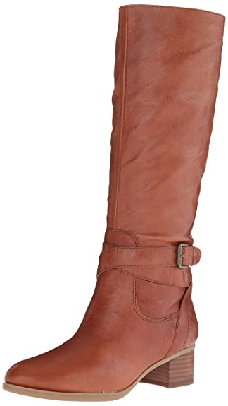 Nine West Women's Vani Leather Riding Boot, Dark Natural, ...