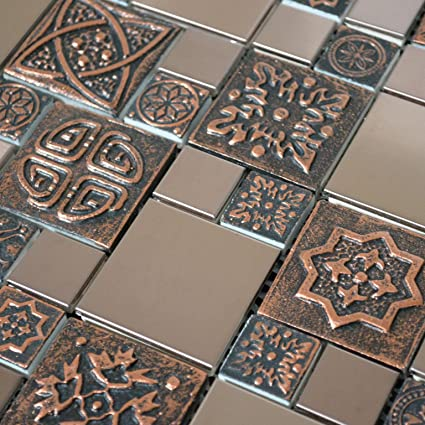 Copper Color Stainless Steel Metal Mosaic Tile For Kitchen Backsplash Wall 3 X 6 Sample 8 99