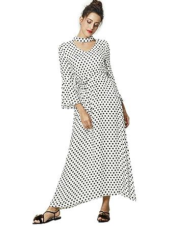 Femmes Islamique Vêtements Maxi Long Dot Imprimer Robe Caftan Marocain Caftan  Robe Abaya Musulman Robes Robe 66352f10d28