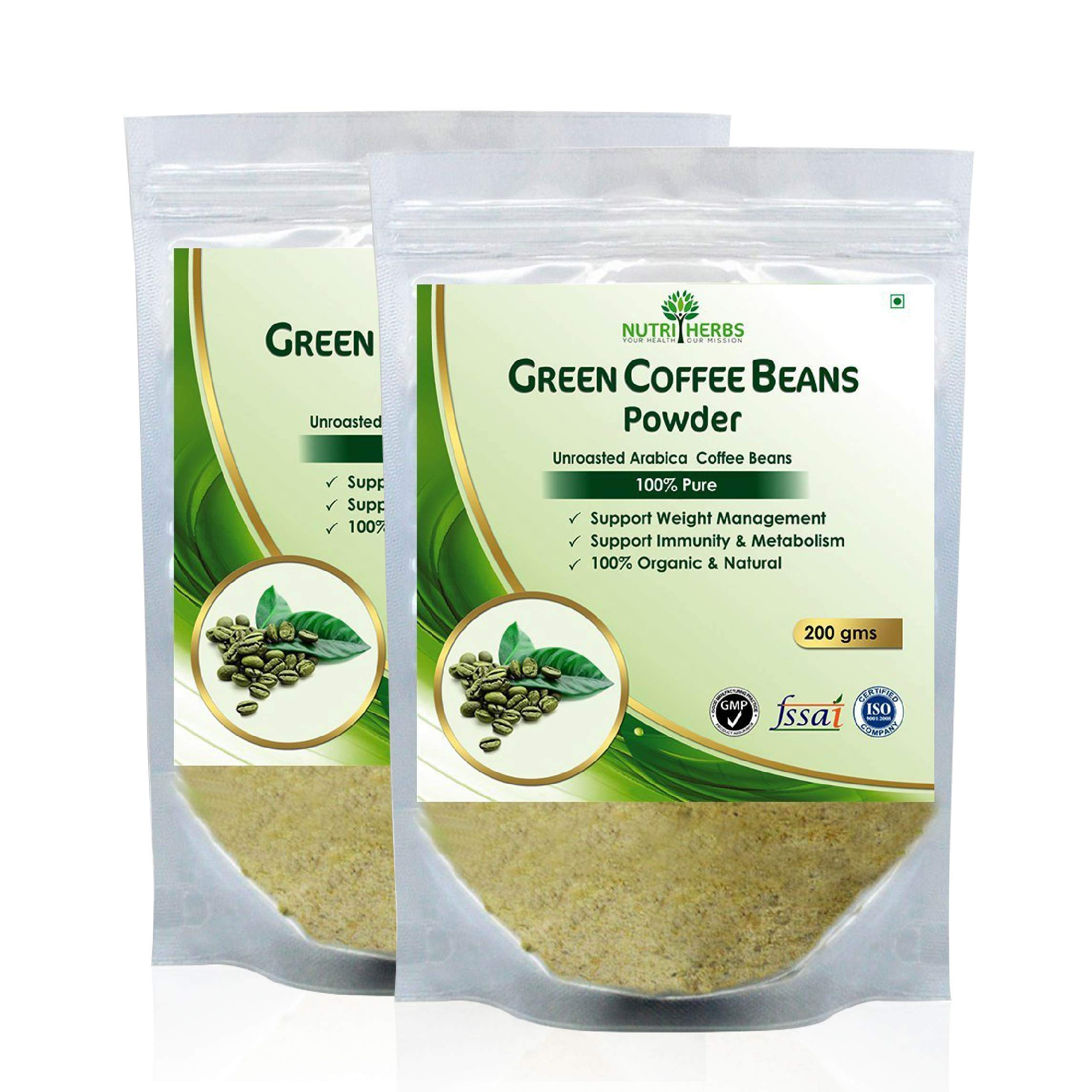 Nutriherbs 100% Pure And Natural Green Coffee Beans Powder For Weight Loss 200Gm (Pack Of 2) product image