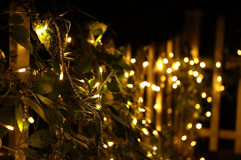Warmwei/ß, Timer 200er LED 5m Eisregen Lichterkette Lichtervorhang Eiszapfen Au/ßen Innen Deko f/ür Garten Party Hochzeit Strombetrieben mit Stecker Gresonic