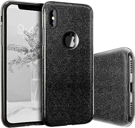 "Image ofCoovertify Funda Purpurina Brillante Negra iPhone XS MAX, Carcasa Resistente de Gel Silicona con Brillo Negro para Apple iPhone XS MAX (6,5"")"