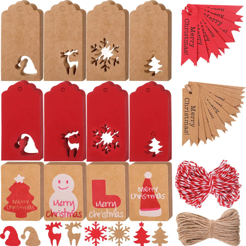 14 Stili 224 Pezzi Etichette Appendere Regali di Natale Etichette in Carta Kraft con 2 Rotoli Spago Per Natale Ringraziamento Nozze Fai Da Te Arti Artigianato Forniture