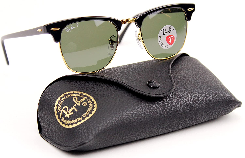 92a9926fda1bf Amazon.com  Ray Ban RB3016 901 58 Clubmaster Black   Crystal Green  Polarized Lens 49mm  Clothing