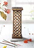 Wooden Incense Burner Tower Sticks Cone Holder Stand Ash Catcher with Hand Carvings Home Fragrance Accessories Made from Mango Wood