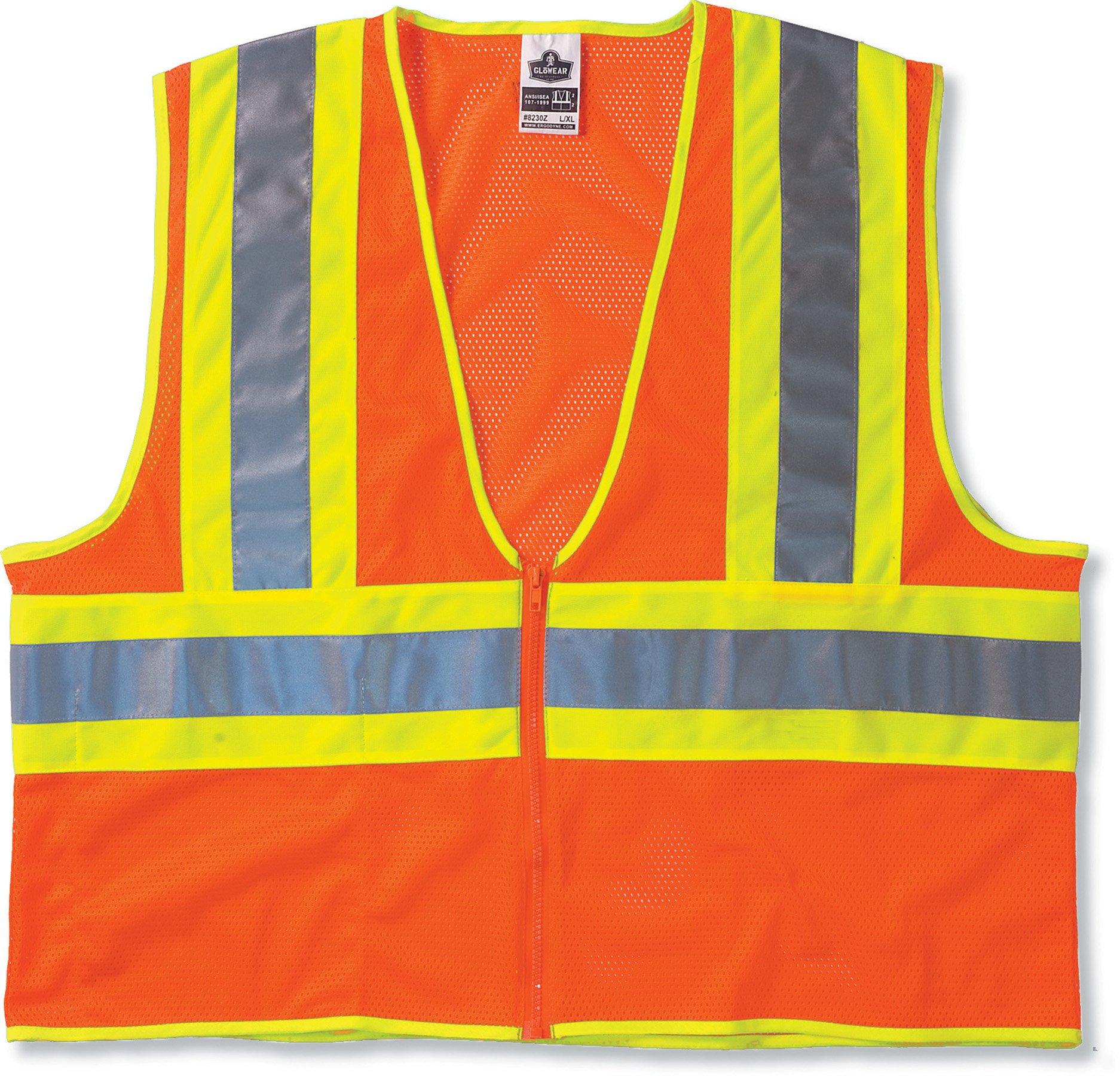 Ergodyne GloWear 8229Z ANSI Economy Two-Tone High Visibility Orange Safety Vest, 2XL/3XL