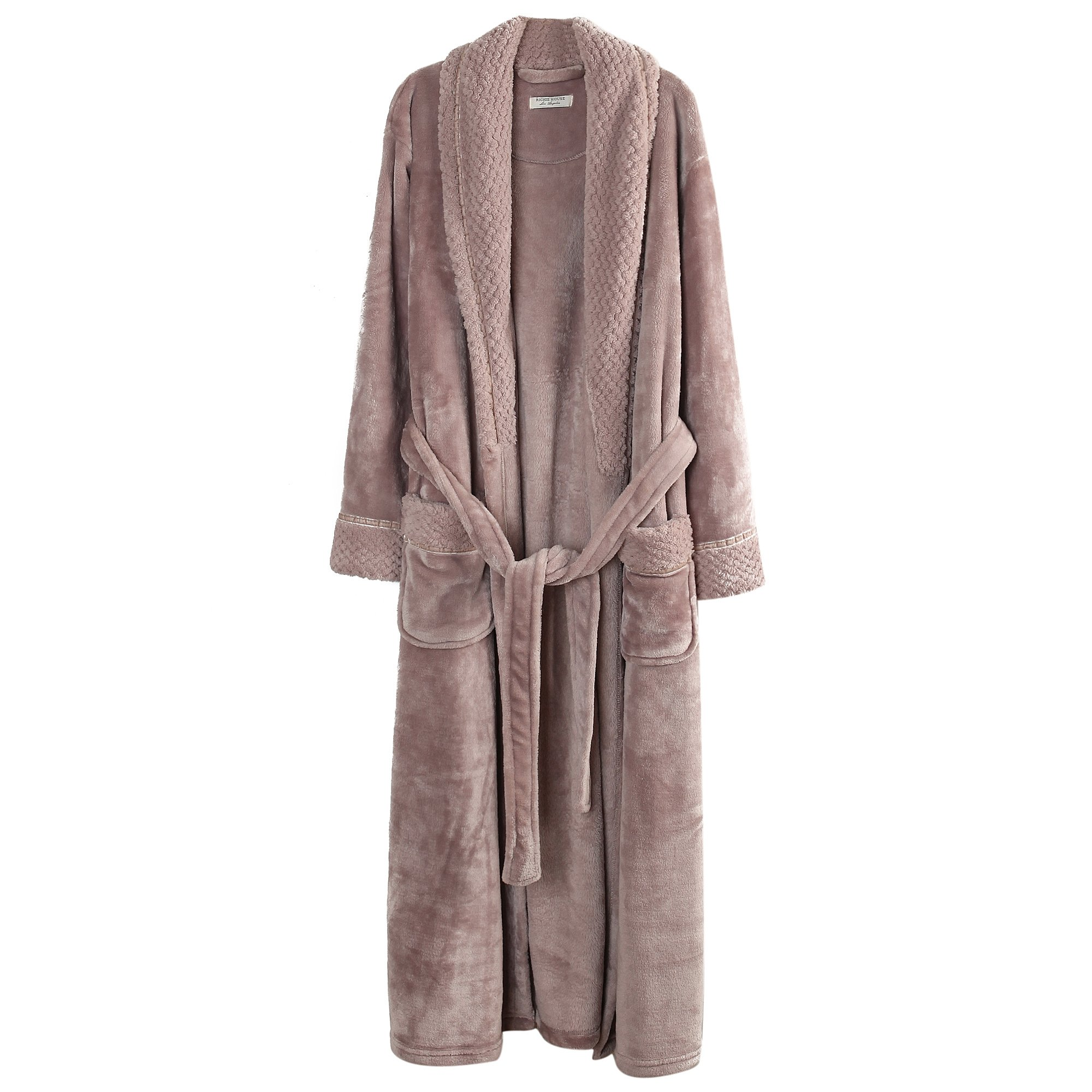 Richie House Women/'s Plush Soft Warm Fleece Bathrobe RH1591-D-L,Nude,Large by Richie House