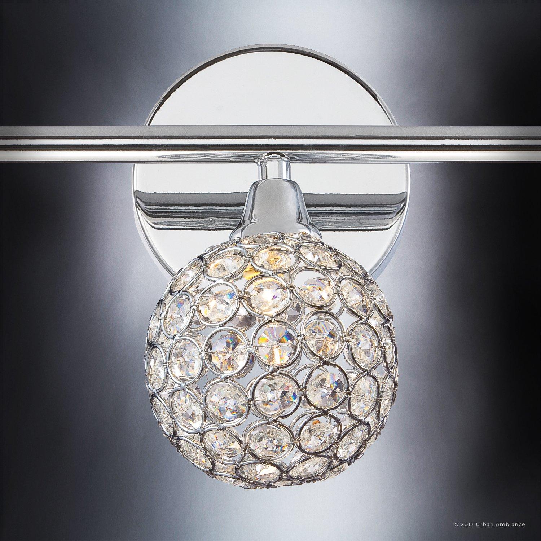 Luxury Crystal Globe LED Bathroom Vanity Light, Medium Size: 8''H x 23''W, with Modern Style Elements, Polished Chrome Finish and Crystal Studded Shades, G9 LED Technology, UQL2631 by Urban Ambiance by Urban Ambiance (Image #6)