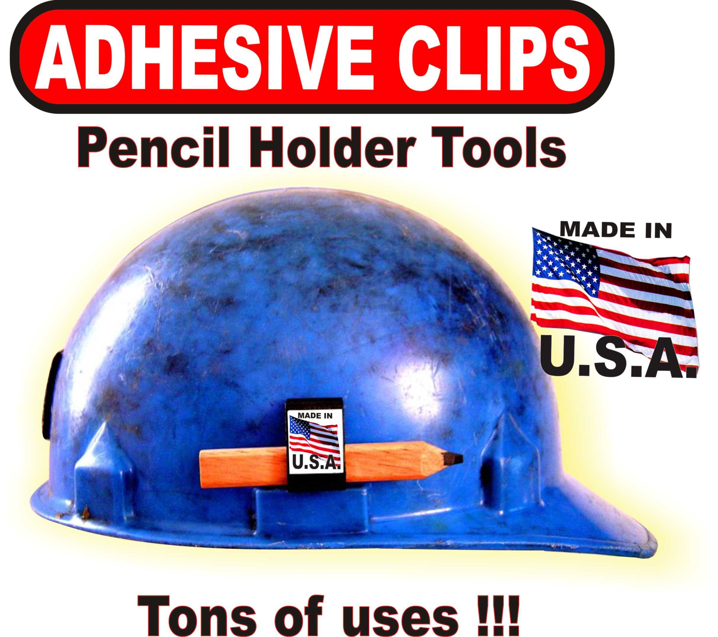 Hard Hat Adhesive Clips 50 PACK of BLACK PENCIL HOLDER TOOLS With Tons of Uses!