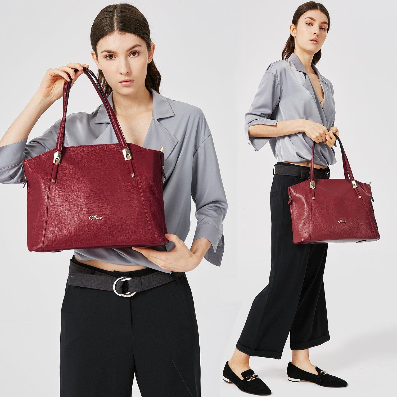 Cluci Genuine Leather Handbags Top-handle Tote Purse Designer Shoulder Bag for Women