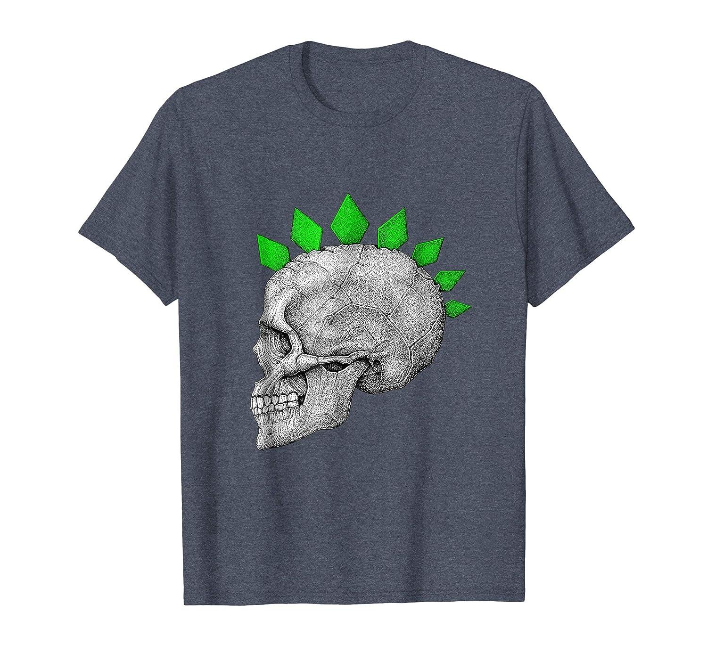 Halloween Skull Skeleton Head Green Mohawk Spikes T Shirt-Rose