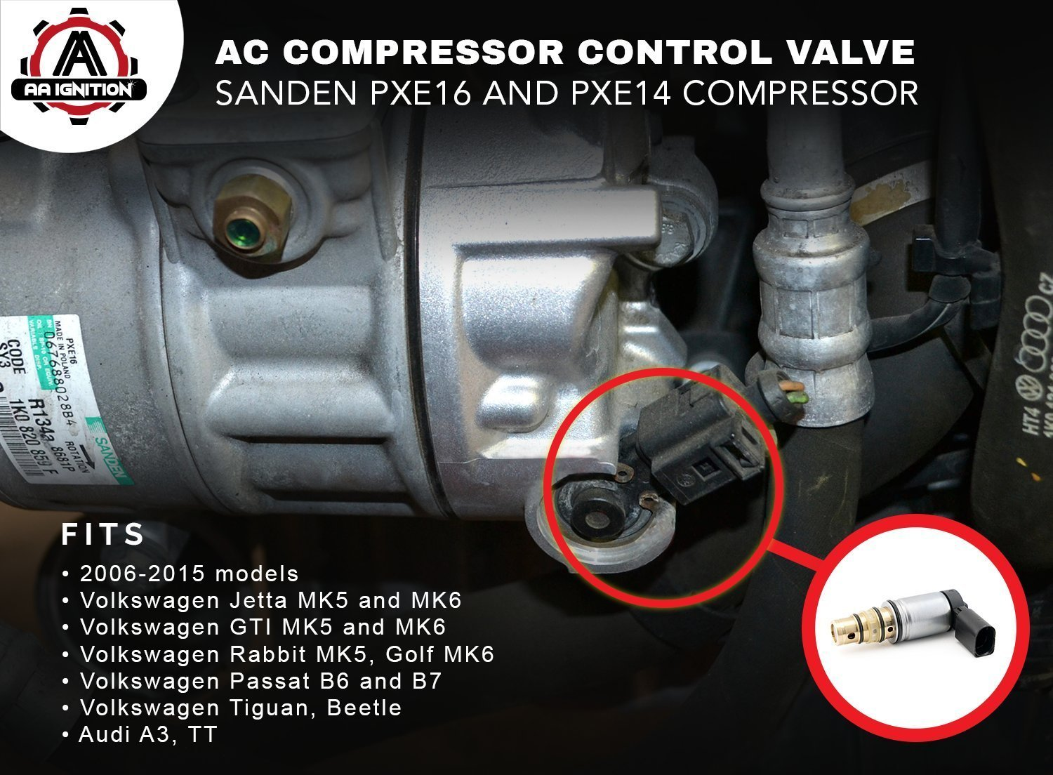 Ac Compressor Control Solenoid Valve Fits Volkswagen Mk4 Golf Air Conditioner Wiring Diagram Jetta Sanden Pxe16 Pxe14 1k0820803e Vw Gti Passat Tiguan Tdi And More