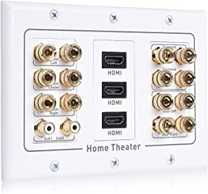 Cable Matters Triple Gang 7.2 Speaker Wall Plate with HDMI (Home Theater Wall Plate, Banana Plug Wall Plate) in White