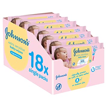 Pack of 18 Total 1008 Wipes Johnson/'s Baby Gentle All Over Wipes