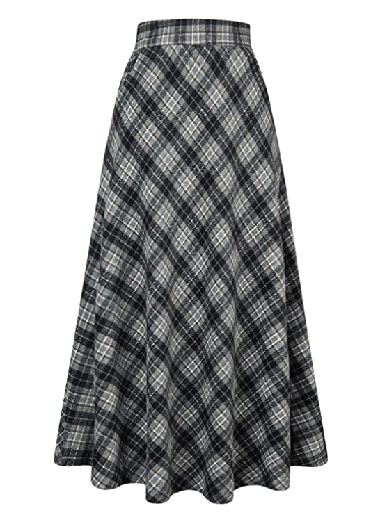 Retro Skirts: Vintage, Pencil, Circle, & Plus Sizes Choies Womens High Waist A-line Flared Long Skirt Winter Fall Midi Skirt $38.99 AT vintagedancer.com
