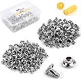 100 Sets Double Cap Rivets Leather Rivet Tubular Metal Rapid Rivet Studs, with Plastic Box, Finger Cot for DIY and Leather Cr