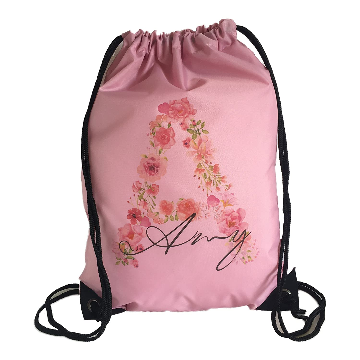 The Supreme Gift Company Personalised Kids Watercolour PINK Floral Initial Drawstring Swimming, School, PE Bag For Girls And Boys … SO-BB-GB-DB-0051