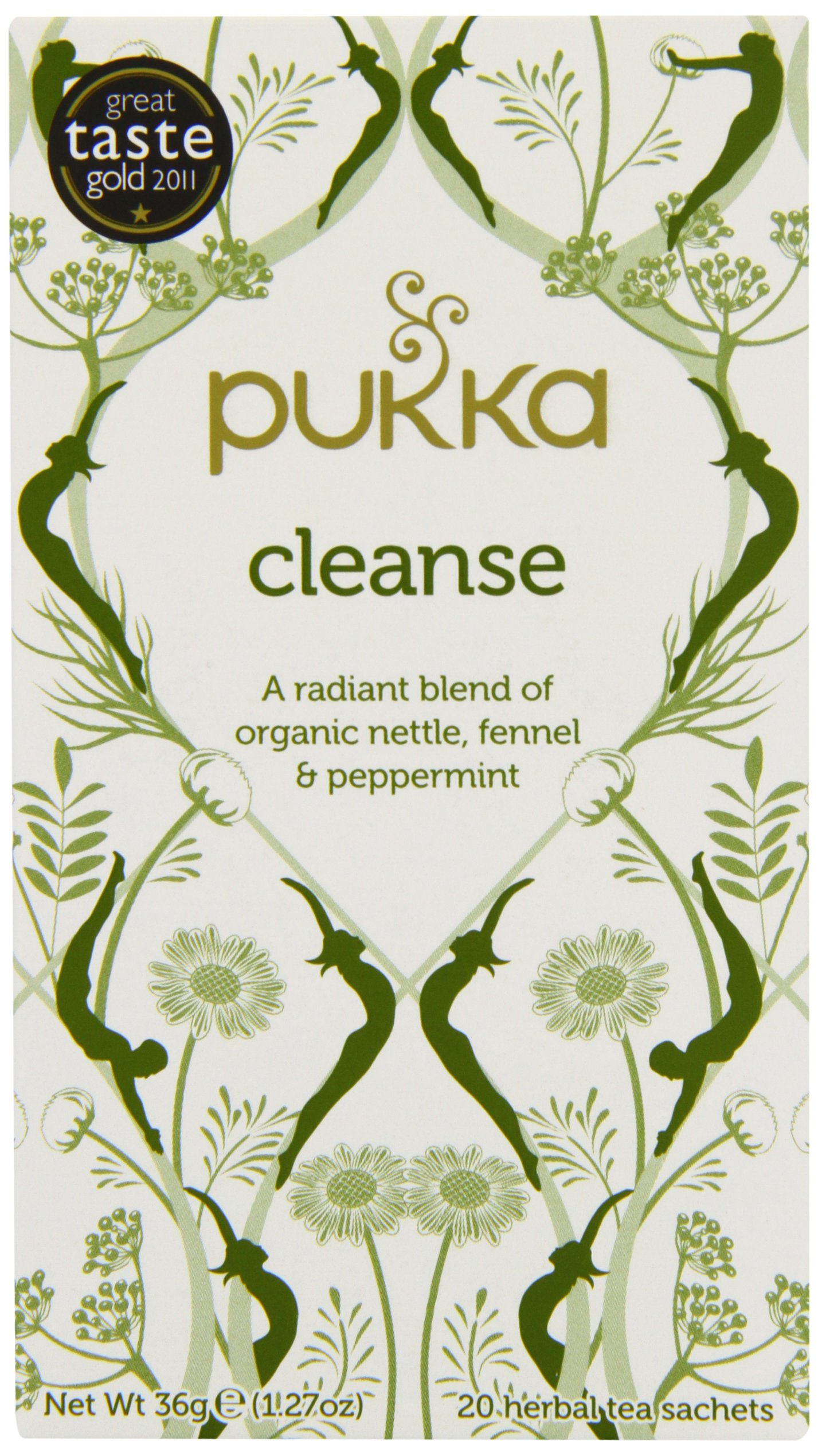 Pukka Herbs Organic Cleanse Herbal Tea, 20 individually Wrapped Bags, Cleanse, 6 Count