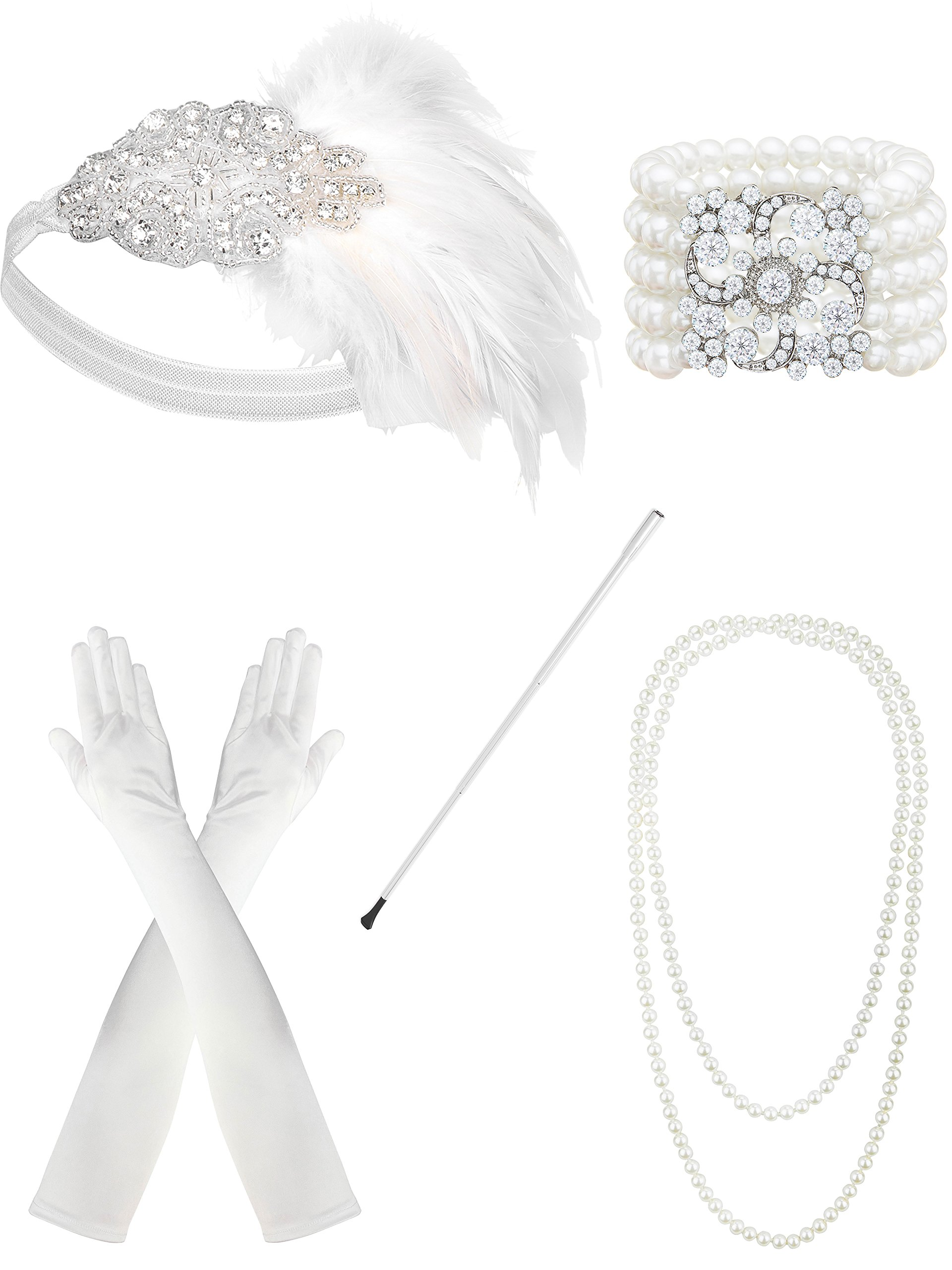 Zivyes 1920s Flapper Accessories Feather Headband Pearl Necklace White Gloves Bracelet