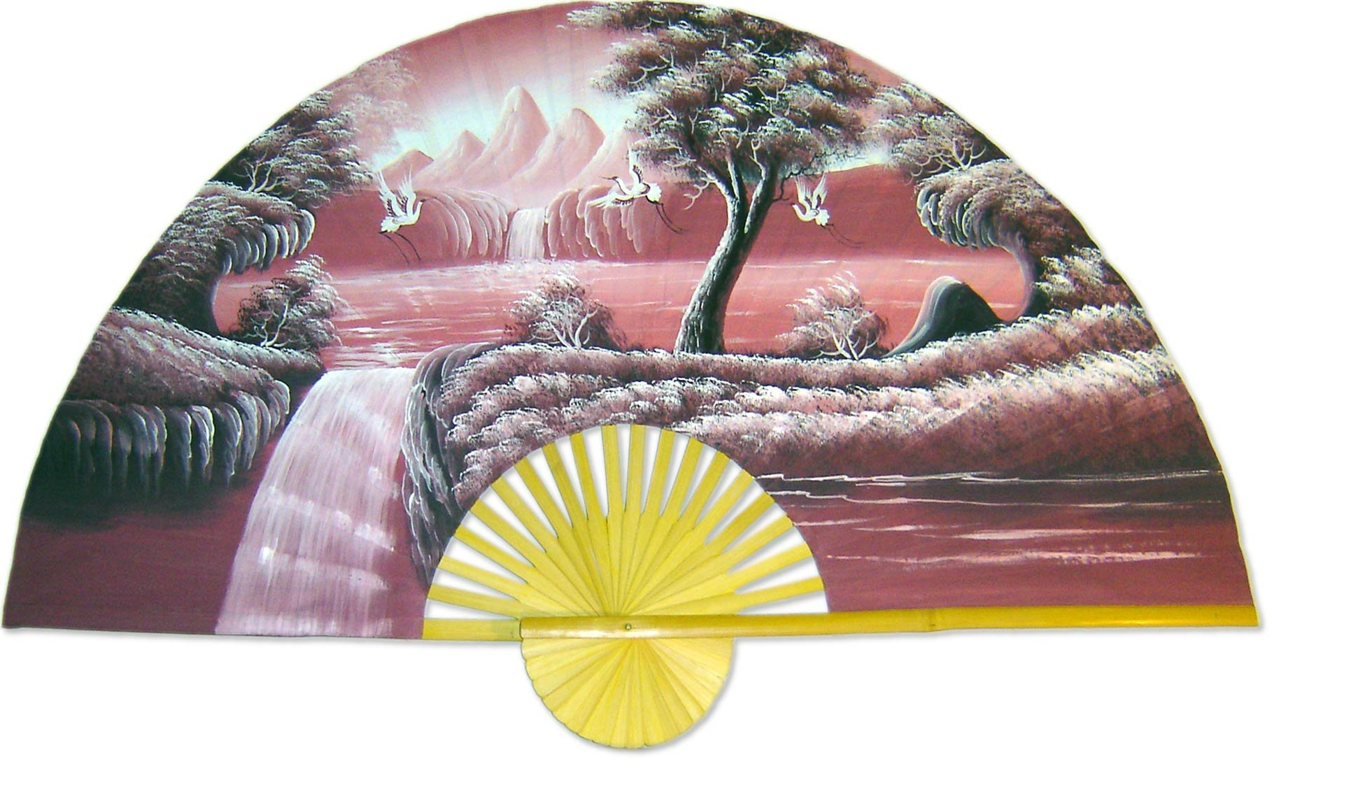 Large 60'' Folding Wall Fan -- Oriental Cranes -- Original Hand-painted Wall Art by Oriental-Decor