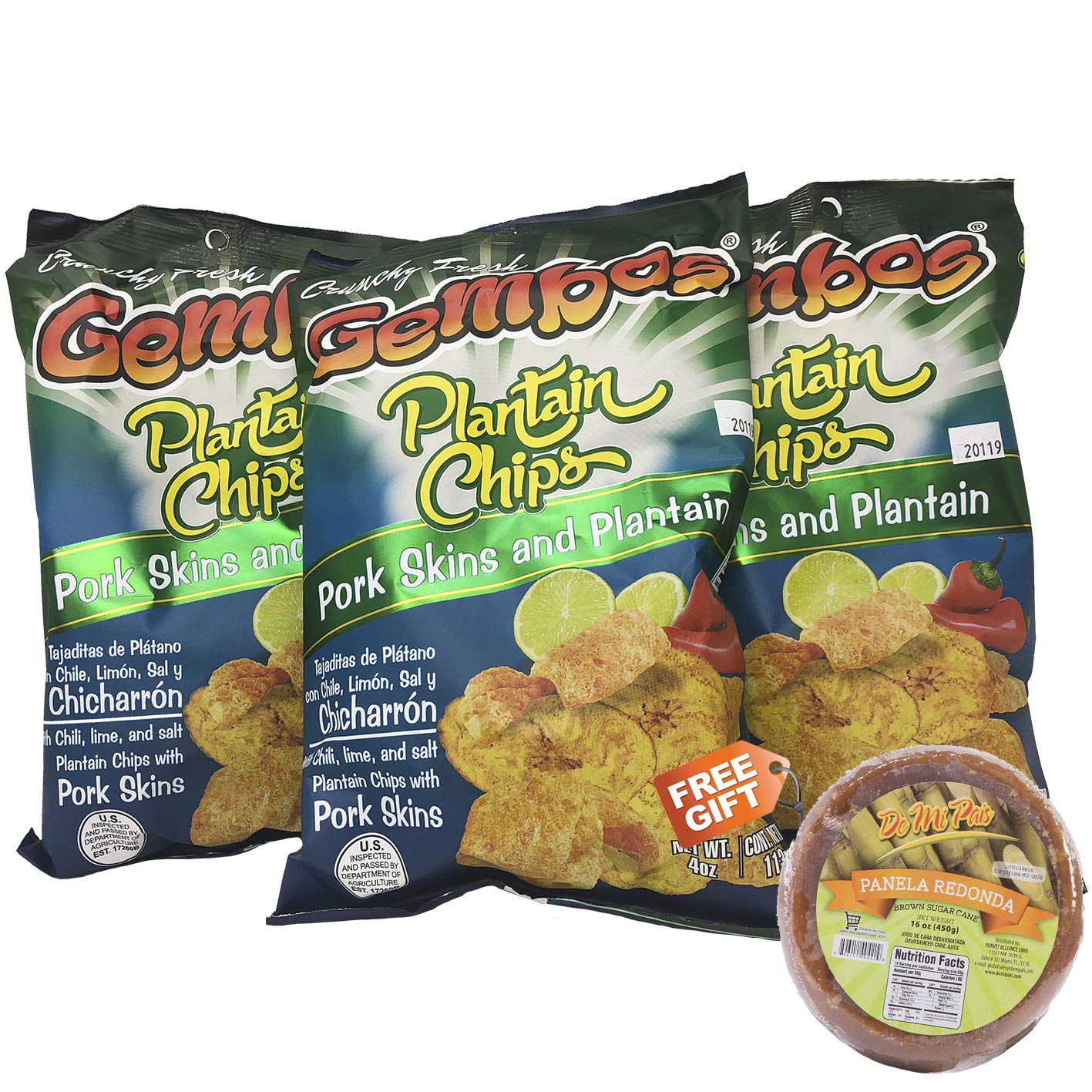 GEMBOS Plantain Chips with Pork Skin/Chicharron 24-PACK - 1 FREE GIFT