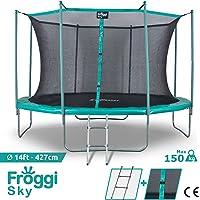 FROGGI Trampoline d'extérieur Sky - 427cm - Norme CE - Structure Garantie 5 Ans - Charge Max : 150 kg