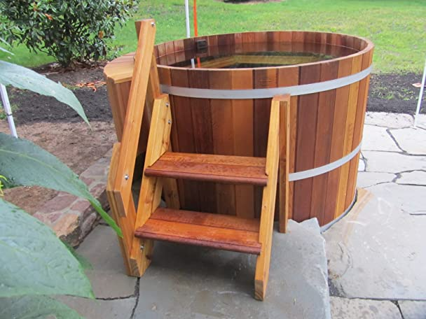amazoncom 4 person wood hot tub electric heater with jets garden u0026 outdoor
