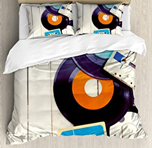 Ambesonne Indie Duvet Cover Set Queen Size, Gramophone Records and Old Audio Cassettes on Wooden Table Nostalgia Music, Decorative 3 Piece Bedding Set with 2 Pillow Shams, Blue Orange Black
