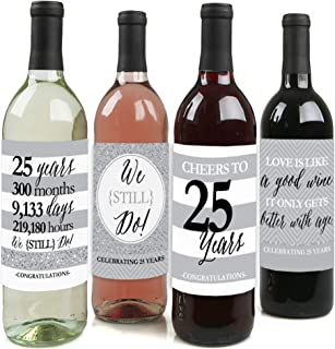 product image for We Still Do - 25th Wedding Anniversary Decorations for Women and Men - Wine Bottle Label Stickers - Set of 4