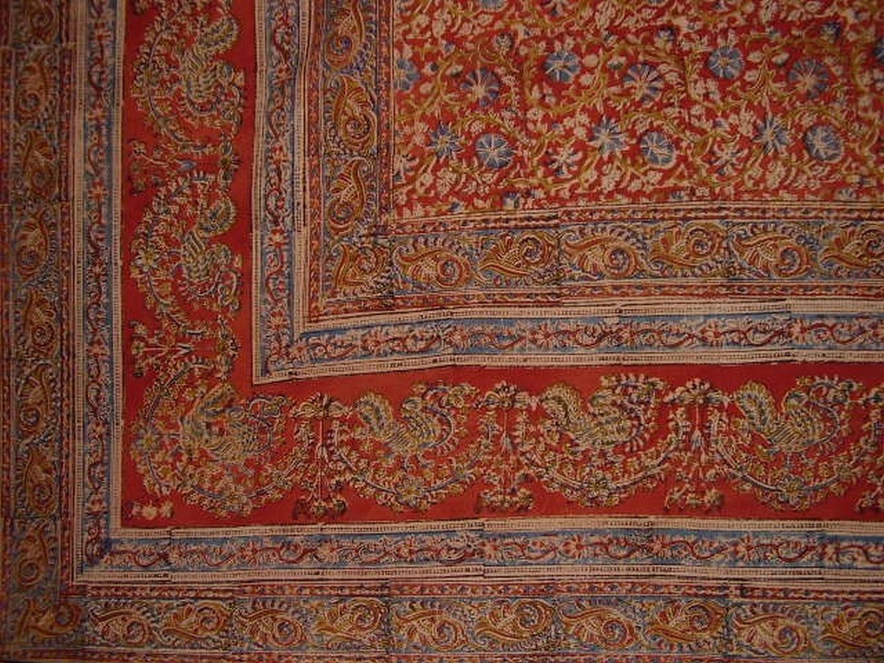 Veggie Dye Block Print Tapestry Cotton Bedspread 108'' x 88'' Full-Queen Red