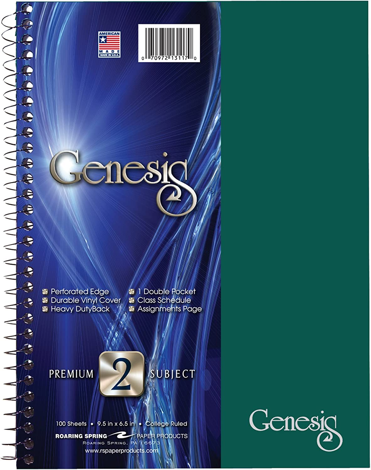 """Roaring Spring Genesis College Ruled 2 Subject Spiral Notebook with Double Pocket, 9.5"""" x 6.5"""" 100 Sheets, Assorted Colors"""