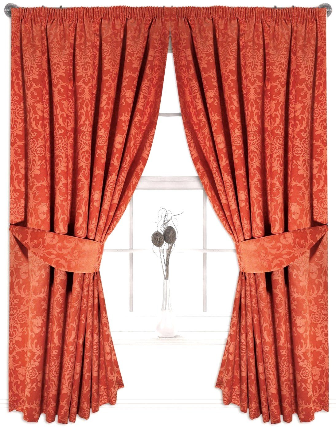 The house of emily one pair of burnt orange 46 x 72 fully lined floral design pencil pleated jacquard curtains amazon co uk kitchen home