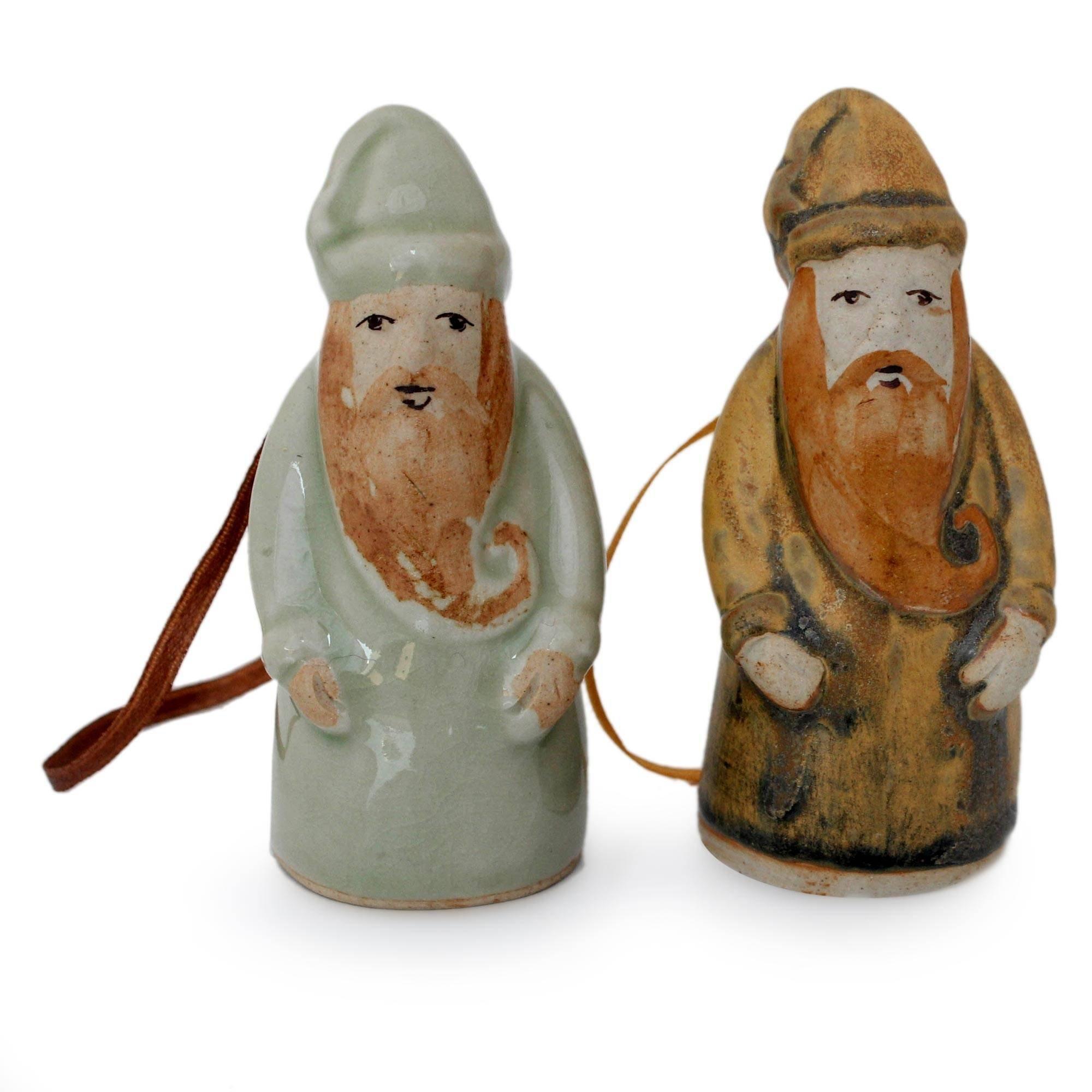 NOVICA Decorative Christmas Ceramic Hanging Holiday Ornament, Assorted, 'Thai Santa Claus' (Pair) by NOVICA