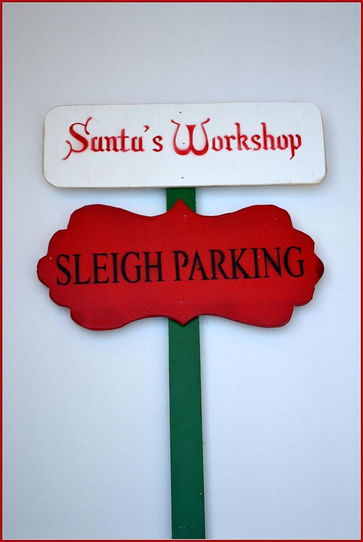 Holiday Yard Sign Christmas Yard Stake Santa Garden Sign Santa Workshop Sign