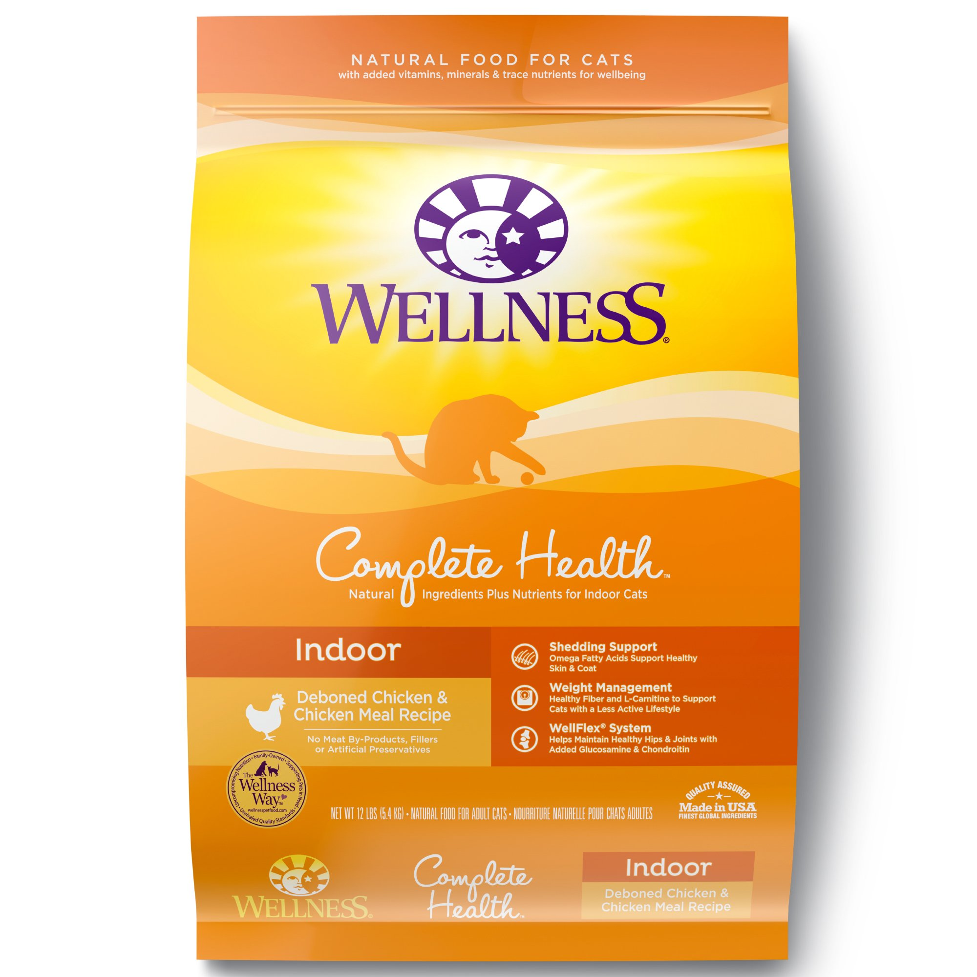 Wellness Complete Health Natural Dry Cat Food, Indoor Chicken Recipe, 12-Pound Bag