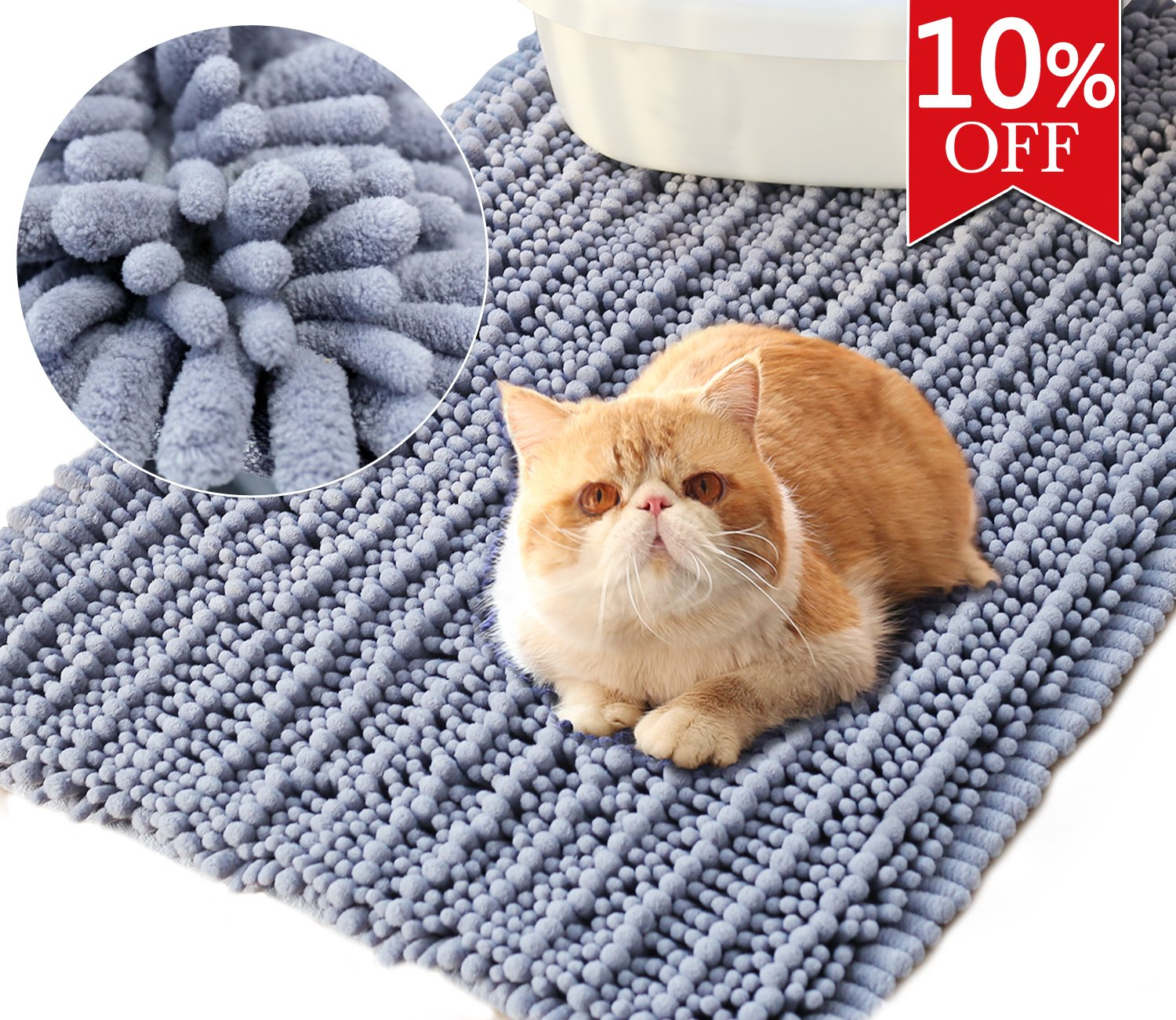 Vivaglory 35½ x 23¾inch Large Washable Cat Litter Mat,3D Design Microfiber Litter Trap Mat, Soft on Sensitive Paws,Ultra Absorbent and Waterproof, Grey