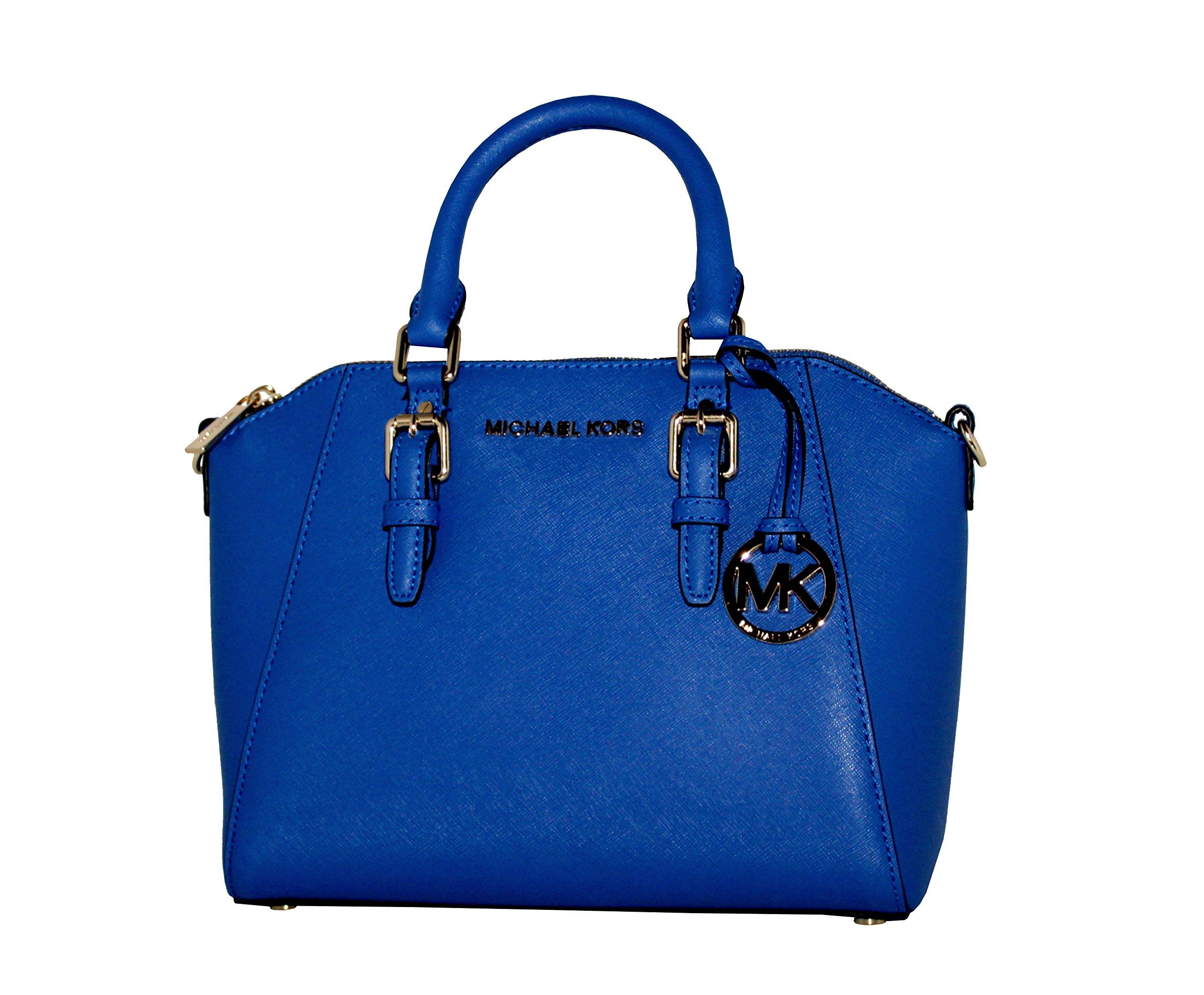 MICHAEL Michael Kors Ciara Leather Medium Messenger Bag Handbag (Electric blue)