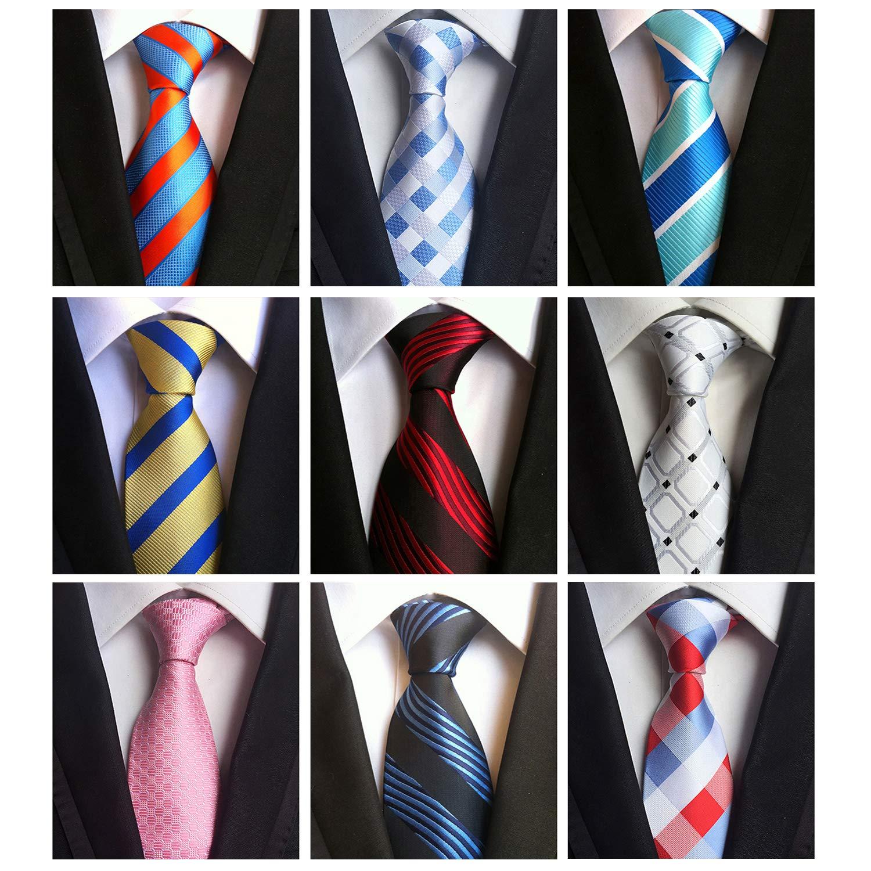 Jeatonge Lot 6pcs Mens Ties and 3pcs Tie Clips, Men's Classic Tie Necktie Woven Jacquard Neck Ties (9-12)